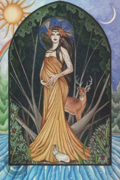 Imbolc is a Celtic Feast in which the Mother Earth is honoured as she gives birth once again to the Sun God. It is a time of nourishment, healing, and preparation for the coming Spring. Celebrated on the 2nd of February. Art by Jessica Galbreth