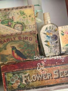 Vintage Seed Box and Label Collection - via Chippy Shabby Vintage Box, Shabby Vintage, Vintage Decor, Retro Vintage, Vintage Vignettes, Vintage Farm, Vintage Stuff, Origami, Decoupage
