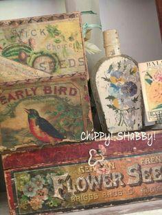 vintage labels, vignett, shabbi chic, vintag garden, seed label, vintag box, seeds, shabby vintage, garden boxes