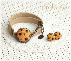 sweet vintage cookies: bracelet + earrings. made by miyaka-biżu  (polymer clay, fimo, sculpey)