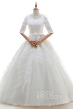 Eye-Catching+Princess+Bateau+Natural+Court+Train+Organza+and+Lace+Ivory+Half+Sleeve+Key+Hole+Wedding+Dress+with+Embroidery+Ruffles+and+Sashes+B14TB0001