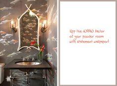 modern bathroom powder room koi goldfish wallpaper covering gray orange