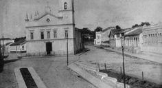 Praça N. Sra. da Penha em foto de 1908. Ao fundo, o Externato São Vicente de Paulo, das irmãs vicentinas - 1908