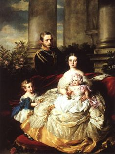 Victoria Adelaide Mary Louisa of Great Britain (1840-1901) and Friedrich Wilhelm Nikolaus Karl of Prussia 1831-1888) with their two oldest children: Friedrich Wilhelm Viktor Albrecht (1859-1941) and Viktoria Elisabeth Auguste Charlotte (1860-1919).