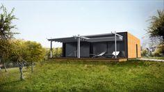 Modulhaus mit 3 Modulen. 93 m2 WF mit Preisen ab CHF 42900.- Garage Doors, Shed, Outdoor Structures, Outdoor Decor, Robin, Home Decor, Small Manufactured Homes, Modern Wood House, Cool Architecture