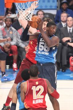 Roy Hibbert rebounds during the 2012 NBA All-Star Game on February 26, 2012.