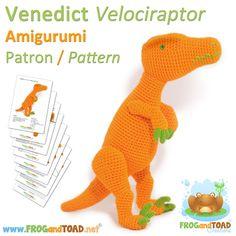 Dinosaur Velociraptor Amigurumi Pattern par FROGandTOAD Créations © #amigurumi #crochet #dinosaur #velociraptor #patron #pattern #cute #amigurumipattern #love #happy #beautiful #colourful