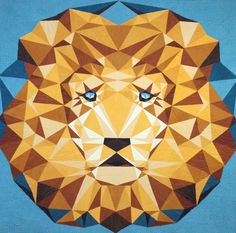 """Pattern designed by Violet Craft:Jungle Abstractions: The LionPaper piecing will challenge you, but is SO worth the effort! This dramatic design sparkles with all the shades of the exclusive Cherrywood Lion King Golds plus several other golds and rusts with the gorgeous suede tetxure. The teal background makes this lion jump off the wall!60"""" x 60""""Quilt designed by Violet Craft, sewn by Stephanie Adams, quilted by Tia Curtis."""