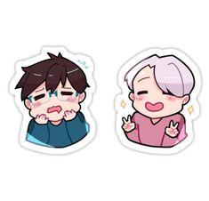 'victuuri sticker set ' Sticker by hinamie Pop Stickers, Kawaii Stickers, Anime Stickers, Printable Stickers, Anime Kawaii, Anime Chibi, Fan Art Anime, Anime Crafts, Japon Illustration