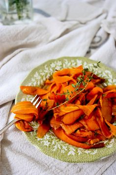 Maple Thyme Roasted Carrot Ribbons