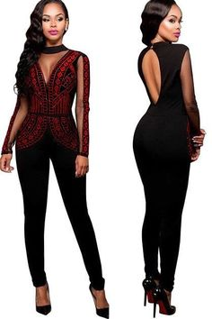 0569bfa9aaca 2016 Womens Rompers Winter Autumn Club Party Black Red blue O-neck Hot  Drilling Long Mesh Sleeves Bodycon Jumpsuit Plus Size