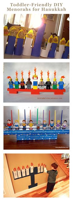 5 Toddler-Friendly DIY Menorahs for Hanukkah These toddler-friendly DIY menorah. 5 Toddler-Friendly DIY Menorahs for Hanukkah These toddler-friendly DIY menorah… Feliz Hanukkah, Hanukkah Crafts, Jewish Crafts, Hanukkah Decorations, Hanukkah Menorah, Christmas Hanukkah, Hannukah, Happy Hanukkah, Holiday Crafts