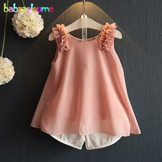 Summer Fashion Toddler Girls Outfits Children Clothing Sets  Chiffon Loose Sleeveless Top+Shorts 2pcs Suits Kids Clothes BC1083