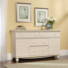 Sauder Harbor View Dresser, Antiqued White