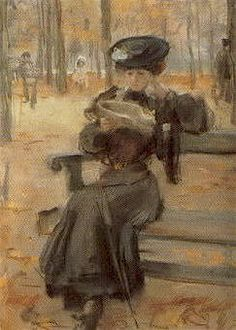 Vrouw in Jardin des Tuileries / Woman in the Tuileries ,1908 -  Isaac Lazarus Israëls (Dutch, 1865-1934)