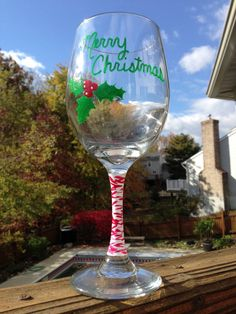 hand painted Merry Christmas wine glass for only $7.00!!
