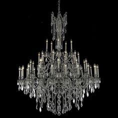 "Elegant Lighting 9245G54PW/EC Rosalia Collection Foyer/Hallway Large Hanging Fixture D54"" x H66"" Pewter Finish (Elegant Cut Crystals)"