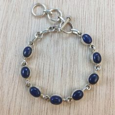 Sterling Silver Lapis Lazuli Gemstone Bracelet by AlphaVariable
