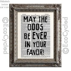 New to EcoCycled on Etsy: May The Odds Be Ever In Your Favor on Vintage Upcycled Dictionary Art Print Book Art Print Recycled Repurposed Hunger Games (10.00 USD)