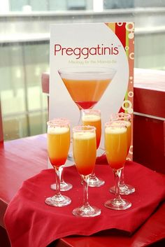 Baby shower idea.  Orange juice, grenadine, sparkling cider, garnish with a cherry <---- from Jenny's pint rest