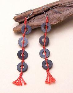 Silk & Metal Earrings