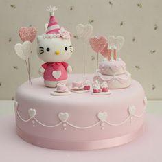 Hello Kitty cake idea - hearts on the side
