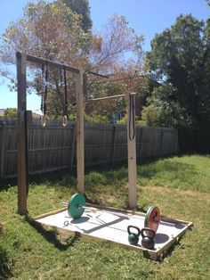 Backyard gym is getting very close to complete - just need some rubber mats for . Backyard gym is Diy Gym Equipment, Outdoor Fitness Equipment, No Equipment Workout, Basement Gym, Garage Gym, Gym Workouts, At Home Workouts, Gym Shed, Crossfit Home Gym
