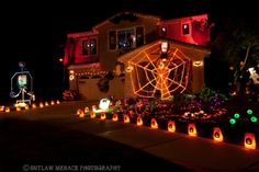 Halloween lights galore. Lighting done well