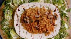 """This is one of Jamie Oliver's 15 Minute Meals, a delish """"Saucy Sausage Pasta"""". The photo is of the actual meal that he made (can't claim it as my own unfortunately! Sausage Pasta Bake, Sausage Pasta Recipes, Fusilli Recipes, Sausage Rolls, Pasta Salad For Kids, Salads For Kids, Jamie Oliver Sausage Pasta, Jamie Oliver 15 Minute Meals, Jamie's 15 Minute Meals"""