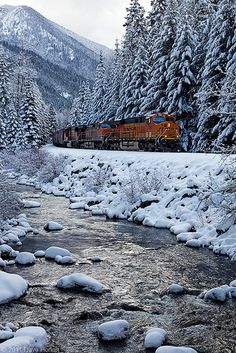 Winter Wonderland by DWHonarain? Train travel through winter snows is wonderful! Train Tracks, Train Rides, Train Trip, Train Journey, Magic Places, Winter Szenen, Winter Travel, Winter Time, Trains