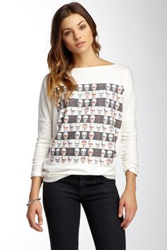 Boatneck Graphic Print Sweater by Go Couture on @HauteLook