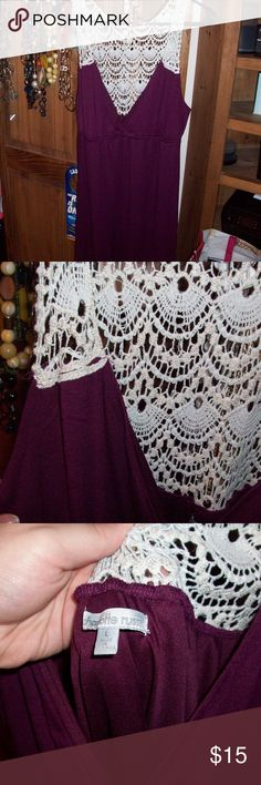 Burgandy and White Lace Dress BRAND NEW! Never worn, without tags. Charlotte Russe Dresses Midi