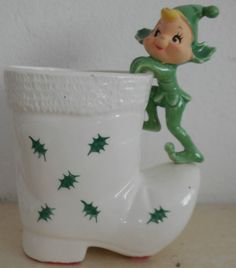 VINTAGE HOLT HOWARD ELF PIXIE PLANTER CHRISTMAS BOOT