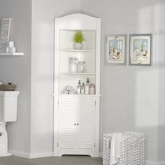 Great for Ellsworth W x H x W Free-Standing Linen Cabinet by Rebrilliant top rated furniture sale from top store Cabinet Shelving, Shoe Storage Cabinet, Toilet Storage, Open Shelving, Cabinet Decor, Boot Storage, Storage Mirror, Storage Rack, Storage Cabinets