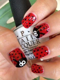 Ladybug Nail Art. Cute!