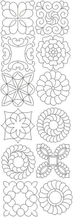 Advanced Embroidery Designs - Quilting Pattern Set II These outline embroidery designs digitized for embroidery machines would be lovely for machine trapunto and FMQ embellishments Beaded Embroidery, Embroidery Stitches, Hand Embroidery, Sashiko Embroidery, Simple Embroidery, Modern Embroidery, Embroidery Ideas, Embroidery Tattoo, Embroidery Letters