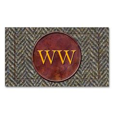 Vintage Country Tweed and Leather Monogram Business Cards from #PatternStore