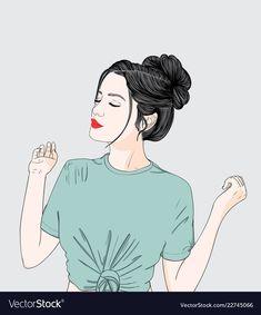 A woman wearing a green shirt vector image on VectorStock Pop Art Wallpaper, Cute Girl Wallpaper, Cartoon Wallpaper, Cartoon Girl Drawing, Girl Cartoon, Cartoon Art, Cute Love Images, Digital Art Girl, Anime Art Girl