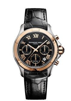 Parsifal 7260-SC5-00208 Mens Watch - Parsifal automatic chronograph Pink gold on leather strap | RAYMOND WEIL Genève Luxury Watches