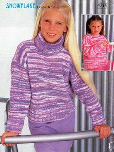 "childrens chenille sweater knitting pattern PDF velvet jumper polo neck round neck 32-32"" chenille DK light worsted 8ply Instant Download by Minihobo on Etsy"