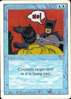 Batman & Robin Counterspell by Mayte Alters (MTG altered art, handmade with acrylics)