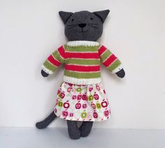 Rag Doll Cat Cat Doll with Clothes Dress Up Cloth by SaskiasStudio
