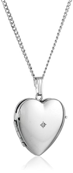 Sterling Silver Diamond-Accented Four-Picture Heart Locket Necklace, 18' * Details can be found by clicking on the image.