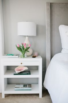 Bedside table lamps are very important to complete your room. Bedroom is the most comfortable room on your house. From the theme, decoration, furniture arrangement and the lighting inside bedroom will affected to make the comfortable room Home Bedroom, Bedroom Furniture, Bedroom Decor, Master Bedroom, Gray Bedroom, Bedroom Lamps, Bedroom Carpet, Bedroom Lighting, White Furniture