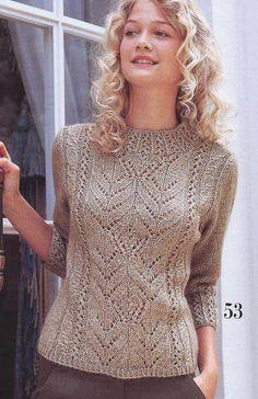 Пуловер с ажурным узором по центру. Схема вязания пуловера спицами | Я Хозяйка