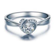 Round Shape Brilliant Moissanite Engagement Ring with Diamonds 14k White Gold or 14k Yellow Gold Diamond Ring