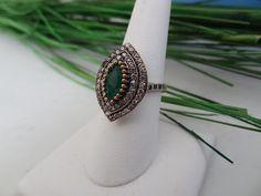 Emerald Sterling Silver Ring - RJRI005 — Rica