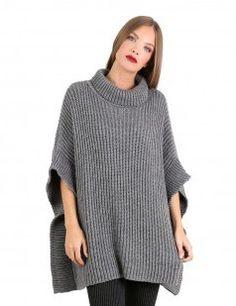 2f4fdce46de5 Knit roll neck poncho - Grey-27 euros Φθινόπωρο Χειμώνας