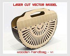 Bolso de madera, bolso madera Vintage, bolso Vintage, bolso madera Vintage, Vector planes, modelo, modelos de vectores, descarga inmediata del corte del Laser