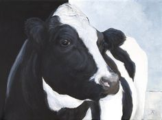 "Black and White Cow, ""Don't Let Me Down"" giclée print by Tracy Anderson"